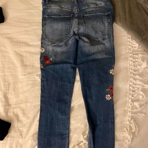 High-Waisted Embroidered Skinny Jeans